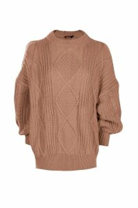 Womens Oversized Cable Jumper - beige - S/M, Beige