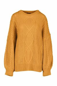Womens Oversized Cable Jumper - yellow - S/M, Yellow