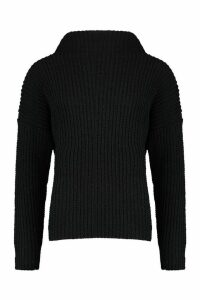 Womens Chenille Knit Funnel Neck Jumper - black - M/L, Black