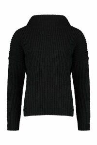 Womens Chenille Knit Funnel Neck Jumper - black - M/L, Black