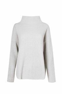 Womens Chenille Knit Funnel Neck Jumper - grey - M/L, Grey
