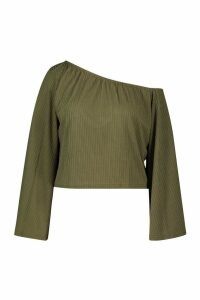 Womens Plus Oversized Rib Crop jumper - green - 16, Green