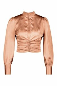 Womens Petite Satin High Neck Tie Back Blouse - pink - 12, Pink