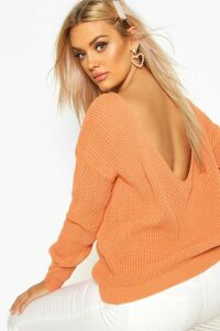 Womens Plus V-Back Oversized Jumper - orange - 20, Orange