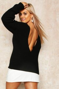 Womens Plus V-Back Oversized Jumper - black - 18, Black