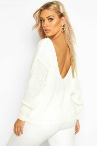 Womens Plus V-Back Oversized Jumper - cream - 18, Cream