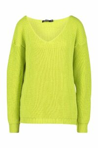 Womens Oversized V Neck Jumper - green - S/M, Green