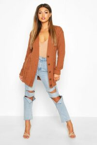 Womens Cable Boyfriend Button Up Cardigan - beige - S/M, Beige