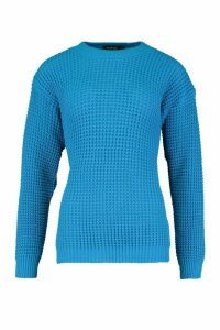 Womens Oversized Vintage Jumper - blue - M, Blue