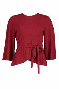 Womens Jumbo Rib Kimono Sleeve Tie Waist Top - red - 16, Red