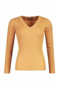 Womens Ribbed V-Neck Jumper - beige - XS, Beige
