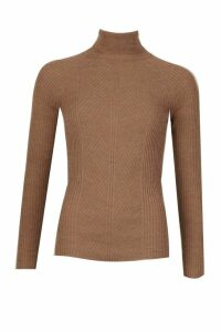 Womens Rib Knit Roll Neck Jumper - beige - L, Beige