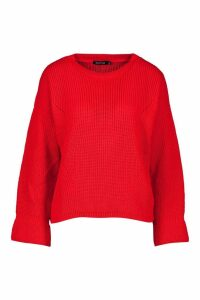 Womens Cuff Detail Fisherman Jumper - red - S/M, Red