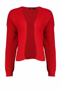 Womens Oversized Rib Crop Cardigan - red - S/M, Red