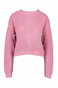Womens Open Knit roll/polo neck Jumper - Pink - L, Pink