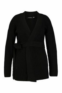 Womens Plus Chunky Knitted Belted Boyfriend Cardigan - black - 18, Black