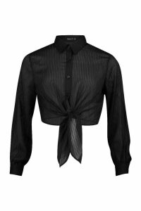 Womens Petite Burnout Stripe Tie Front Shirt - black - 14, Black