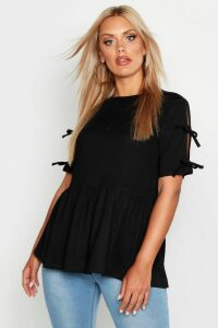 Womens Plus Tie Sleeve Detail Smock Top - black - 16, Black