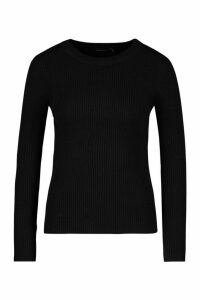 Womens Petite Ribbed Crew Neck Jumper - black - M, Black