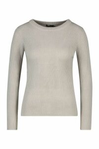 Womens Petite Ribbed Crew Neck Jumper - silver grey - M, Silver Grey