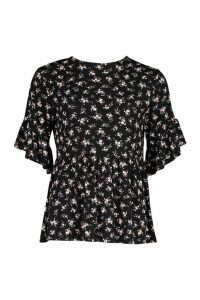 Womens Tall Ditsy Floral Smock Top - Black - 6, Black