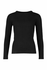 Womens Tall Ribbed Crew Neck Jumper - black - XS, Black