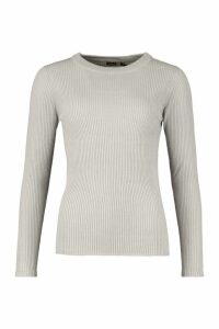 Womens Tall Ribbed Crew Neck Jumper - silver grey - XS, Silver Grey