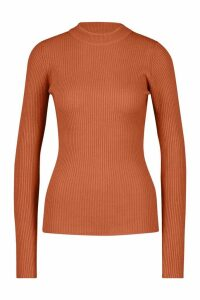 Womens Tall Ribbed roll/polo neck Jumper - orange - XS, Orange