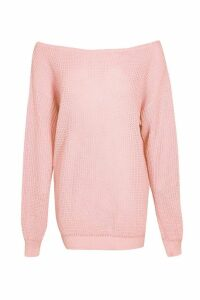 Womens Slash Neck Fisherman Jumper - pink - M/L, Pink