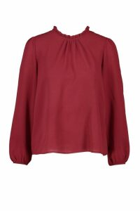 Womens Frill Neck Long Sleeve Woven Blouse - red - 8, Red
