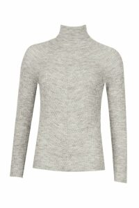 Womens Rib Knit Roll Neck Jumper - silver grey - M, Silver Grey