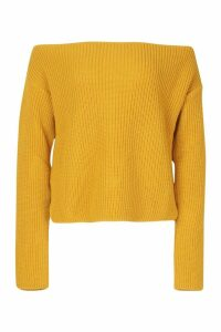Womens Off The Shoulder Slouchy Jumper - yellow - S, Yellow