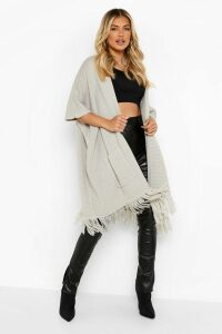 Womens Tassel Hem Cape Cardigan - grey - One Size, Grey
