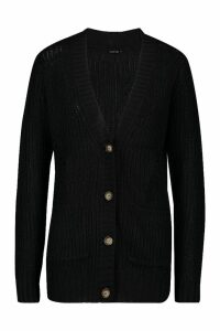 Womens Button Through Cardigan - black - XS, Black