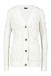 Womens Button Through Cardigan - white - M, White