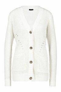 Womens Button Through Cardigan - white - S, White