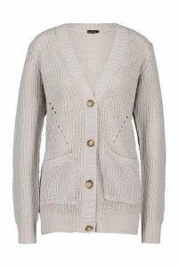 Womens Button Through Cardigan - silver grey - S, Silver Grey