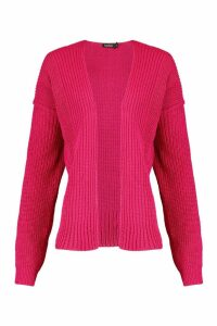 Womens Oversized Rib Cropped Cardigan - pink - S, Pink
