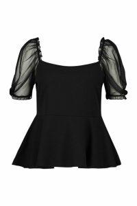 Womens Plus Mesh Puff Sleeve Peplum Top - black - 20, Black