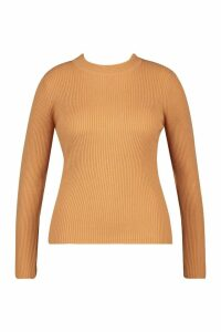 Womens Plus Ribbed roll/polo neck Jumper - beige - 22, Beige