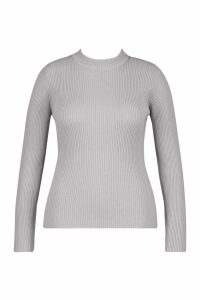 Womens Plus Ribbed roll/polo neck Jumper - grey - 22, Grey