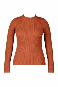 Womens Plus Ribbed roll/polo neck Jumper - orange - 20, Orange