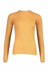 Womens Tall Ribbed Roll/Polo Neck Jumper - Beige - Xs, Beige