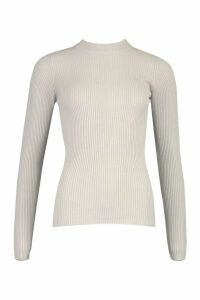 Womens Tall Ribbed roll/polo neck Jumper - grey - M, Grey