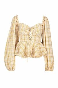 Womens Gingham Check Lace Up Peasant Peplum Top - yellow - 10, Yellow
