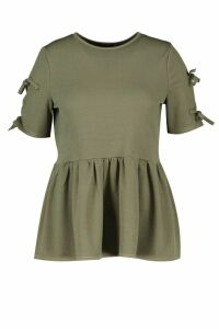 Womens Plus Tie Sleeve Detail Smock Top - Green - 18, Green