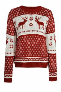 Womens Snowflake and Reindeer Knitted Christmas Jumper - red - M/L, Red