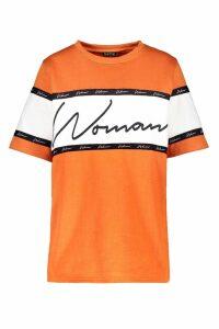 Womens Woman Script T-Shirt - orange - 8, Orange