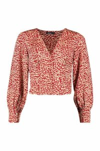 Womens Satin Leopard Button Through Blouse - red - 8, Red