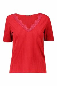 Womens Lace Rib V Neck T-Shirt - red - 14, Red